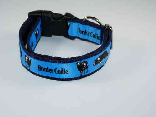 Border Collie Motiv blau Halsband 25mm breit
