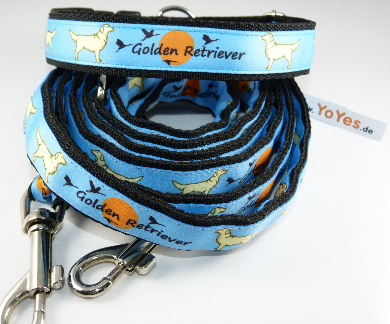Golden Retriever Motiv in blau, Set Halsband + Führleine 210cm